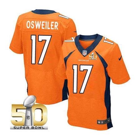 Mens Denver Broncos 17 Brock Osweiler Orange 2016 Super Bowl 50 Elite Stitced NFL Jerseys
