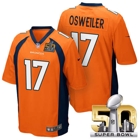 Mens Denver Broncos 17 Brock Osweiler Orange 2016 Super Bowl 50 Game Stitced NFL Jerseys