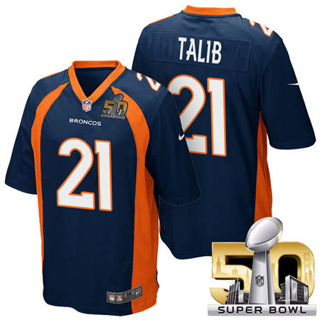 Mens Denver Broncos 21 Aqib Talib Blue 2016 Super Bowl 50 Game Stitced NFL Jerseys