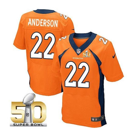 Mens Denver Broncos 22 C J Anderson Orange 2016 Super Bowl 50 Elite Stitced NFL Jerseys