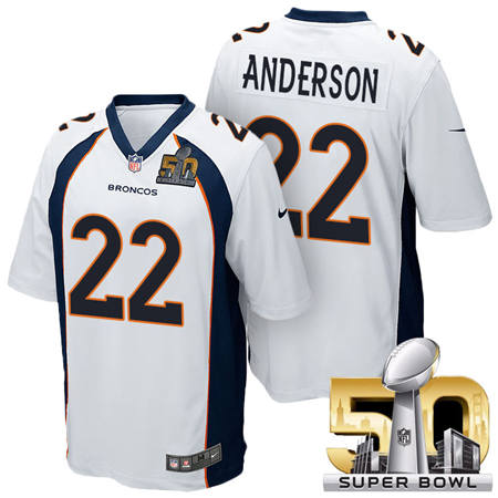 Mens Denver Broncos 22 C J Anderson White 2016 Super Bowl 50 Game Stitced NFL Jerseys