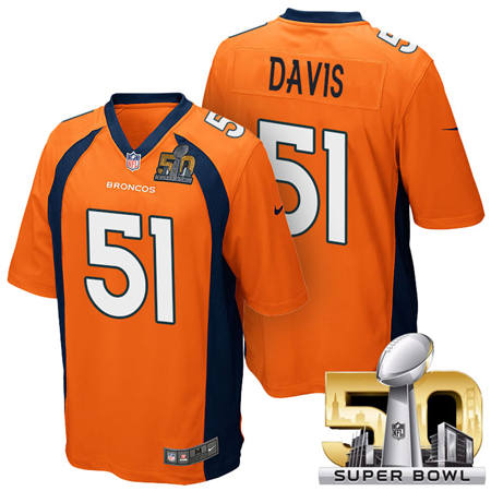 Mens Denver Broncos 51 Todd Davis Orange 2016 Super Bowl 50 Game Stitced NFL Jerseys