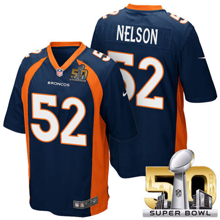 Mens Denver Broncos 52 Corey Nelson Blue 2016 Super Bowl 50 Game Stitced NFL Jerseys