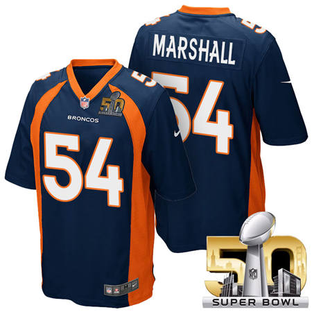 Mens Denver Broncos 54 Brandon Marshall Blue 2016 Super Bowl 50 Game Stitced NFL Jerseys