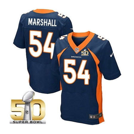 Mens Denver Broncos 54 Brandon Marshall Navy 2016 Super Bowl 50 Elite Stitced NFL Jerseys
