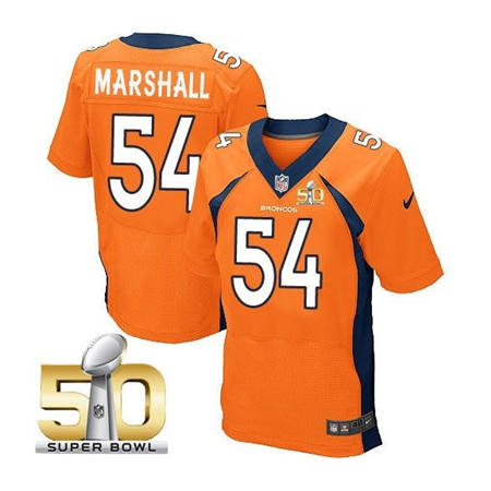 Mens Denver Broncos 54 Brandon Marshall Orange 2016 Super Bowl 50 Elite Stitced NFL Jerseys