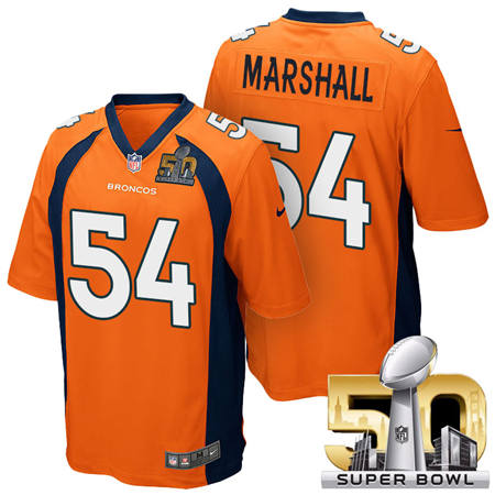 Mens Denver Broncos 54 Brandon Marshall Orange 2016 Super Bowl 50 Game Stitced NFL Jerseys