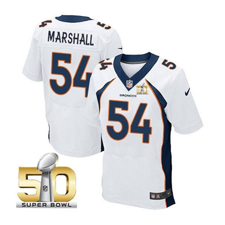 Mens Denver Broncos 54 Brandon Marshall White 2016 Super Bowl 50 Elite Stitced NFL Jerseys