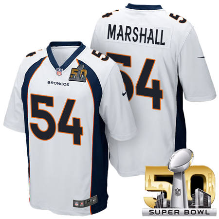 Mens Denver Broncos 54 Brandon Marshall White 2016 Super Bowl 50 Game Stitced NFL Jerseys