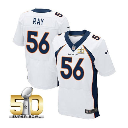Mens Denver Broncos 56 Shane Ray White 2016 Super Bowl 50 Elite Stitced NFL Jerseys