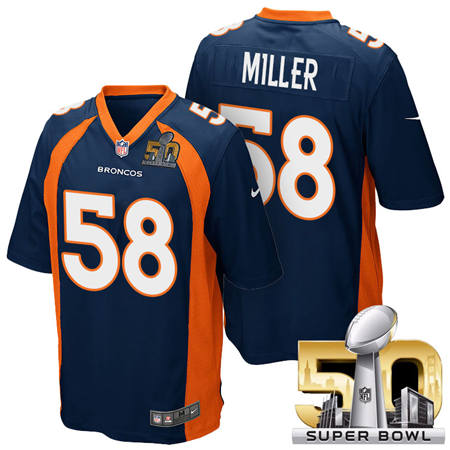 Mens Denver Broncos 58 Von Miller Blue 2016 Super Bowl 50 Game Stitced NFL Jerseys