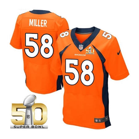 Mens Denver Broncos 58 Von Miller Orange 2016 Super Bowl 50 Elite Stitced NFL Jerseys