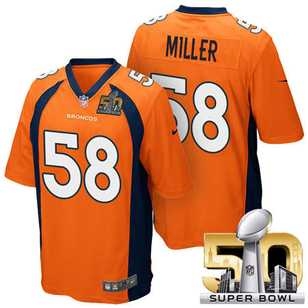 Mens Denver Broncos 58 Von Miller Orange 2016 Super Bowl 50 Game Stitced NFL Jerseys
