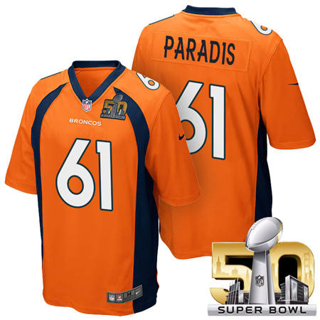 Mens Denver Broncos 61 Matt Paradis Orange 2016 Super Bowl 50 Game Stitced NFL Jerseys