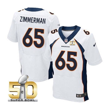 Mens Denver Broncos 65 Louis Vasquez White 2016 Super Bowl 50 Elite Stitced NFL Jerseys