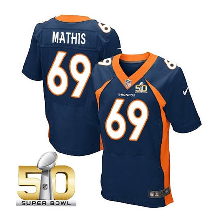 Mens Denver Broncos 69 Evan Mathis Navy 2016 Super Bowl 50 Elite Stitced NFL Jerseys