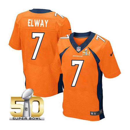 Mens Denver Broncos 7 John Elway Orange 2016 Super Bowl 50 Elite Stitced NFL Jerseys