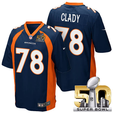Mens Denver Broncos 78 Ryan Clady Blue 2016 Super Bowl 50 Game Stitced NFL Jerseys