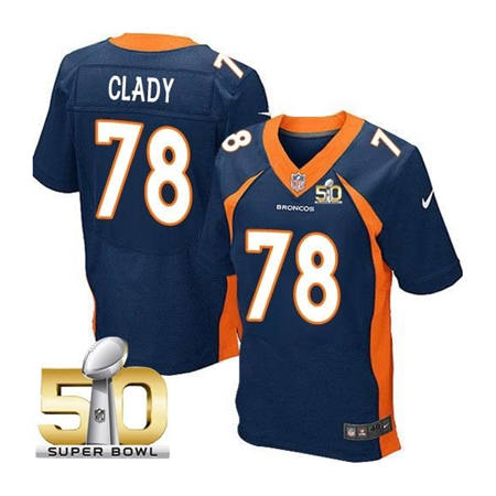 Mens Denver Broncos 78 Ryan Clady Navy 2016 Super Bowl 50 Elite Stitced NFL Jerseys
