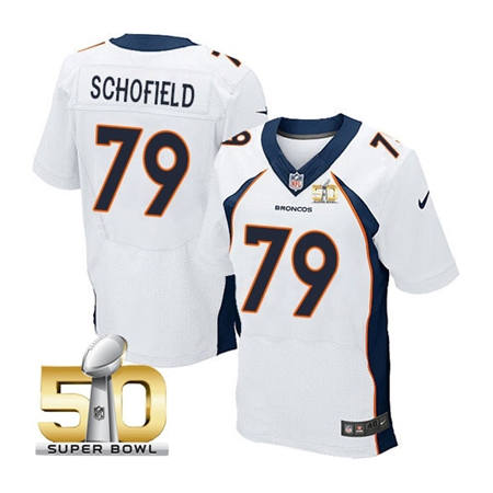 Mens Denver Broncos 79 Michael Schofield White 2016 Super Bowl 50 Elite Stitced NFL Jerseys