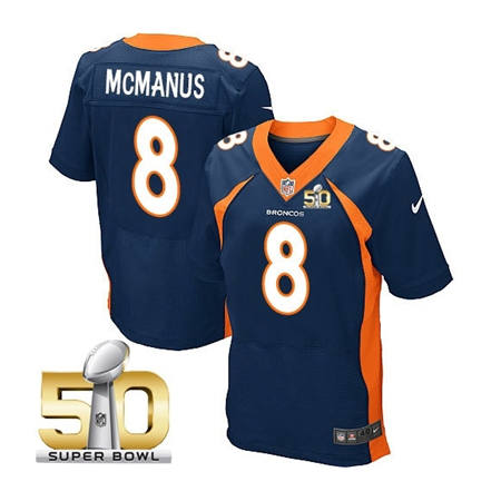 Mens Denver Broncos 8 Brandon McManus Navy 2016 Super Bowl 50 Elite Stitced NFL Jerseys
