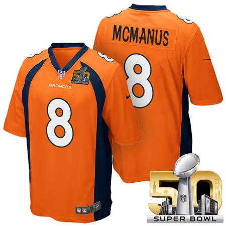 Mens Denver Broncos 8 Brandon McManus Orange 2016 Super Bowl 50 Game Stitced NFL Jerseys