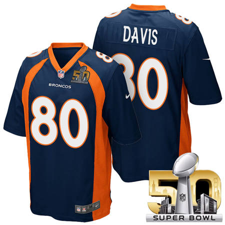 Mens Denver Broncos 80 Vernon Davis Blue 2016 Super Bowl 50 Game Stitced NFL Jerseys