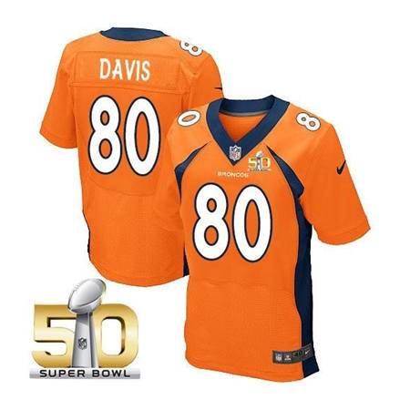 Mens Denver Broncos 80 Vernon Davis Orange 2016 Super Bowl 50 Elite Stitced NFL Jerseys