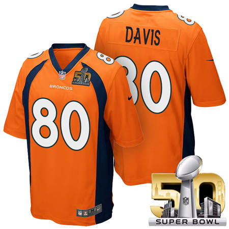 Mens Denver Broncos 80 Vernon Davis Orange 2016 Super Bowl 50 Game Stitced NFL Jerseys