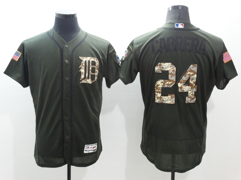 2016 MLB Detroit Tigers 24 Cabrera Green Salute to Service Stitched Baseball Jersey