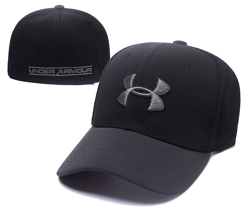 2017 Under Armour Stretch Fitted Hats Black Gray