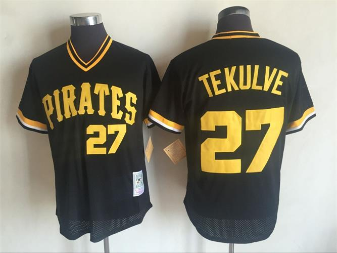 2017 MLB Pittsburgh Pirates 27 Jung Ho Kang Black Throwback Jerseys