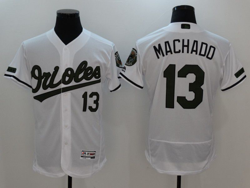 2017 MLB Baltimore Orioles 13 Machado White Elite Commemorative Edition Jerseys