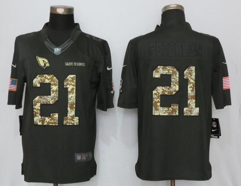 2017 Men Arizona Cardinals 21 Peterson Anthracite Salute To Service Green New Nike Limited NFL Jersey