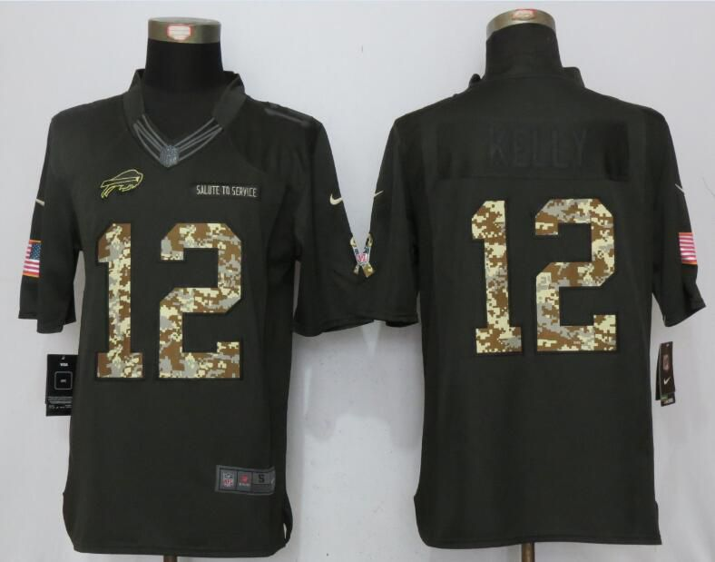 2017 Men Buffalo Bills 12 Kelly Anthracite Salute To Service Green New Nike Limited NFL Jersey