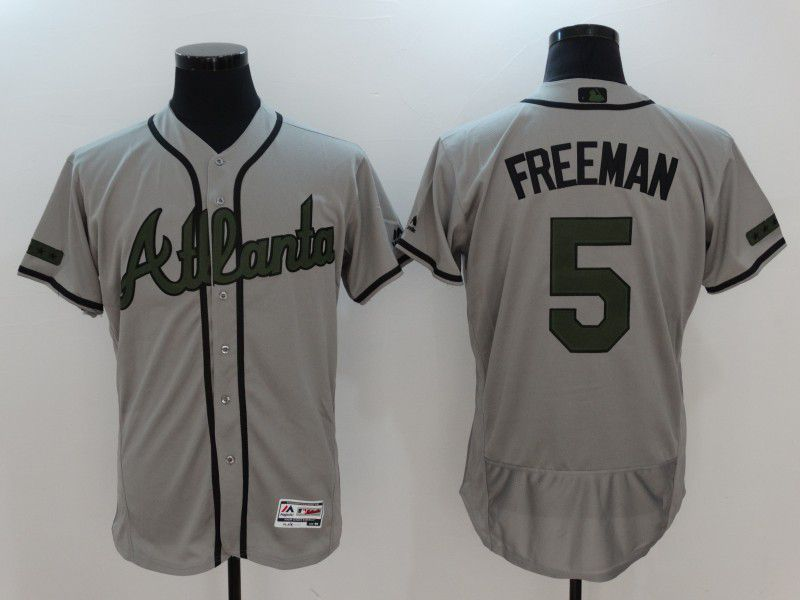 2017 Men MLB Atlanta Braves 5 Freeman Grey Elite Commemorative Edition Jerseys