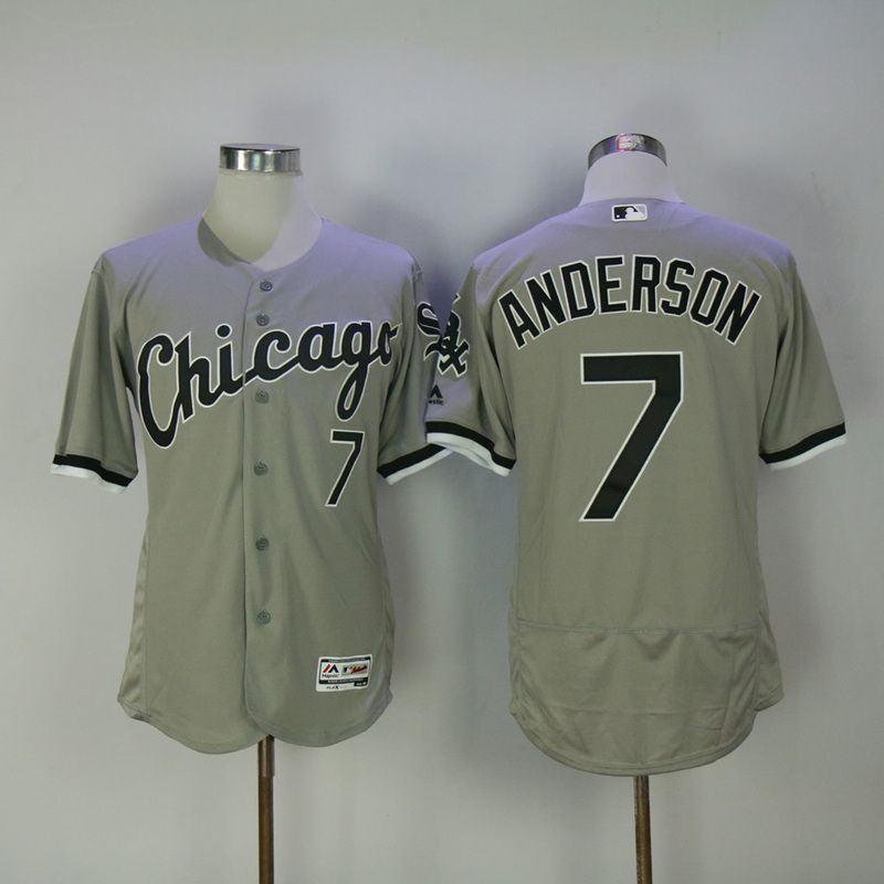2017 Men MLB Chicago White Sox 7 Anderson Grey Elite Jerseys