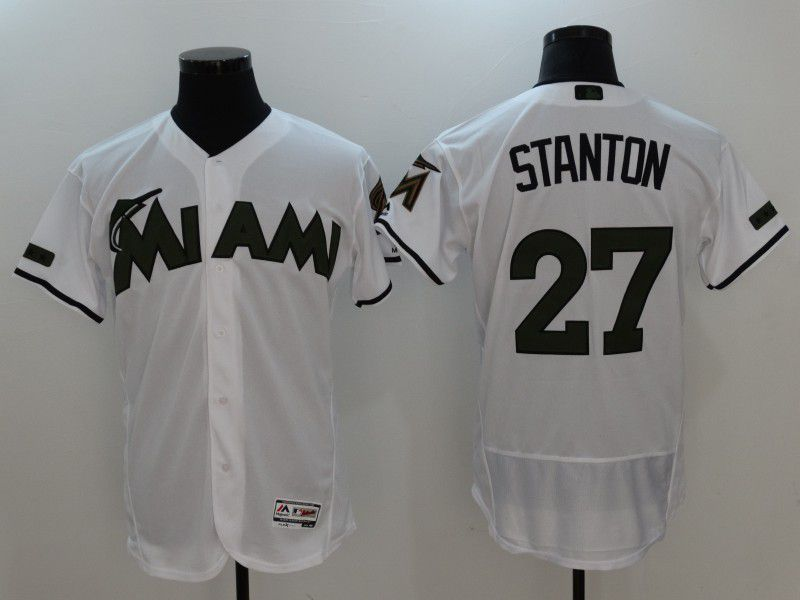 2017 Men MLB Florida Marlins 27 Stanton White Elite Commemorative Edition Jerseys