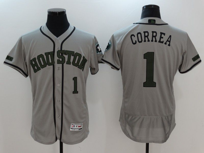2017 Men MLB Houston Astros 1 Correa Grey EliteCommemorative Edition Jerseys