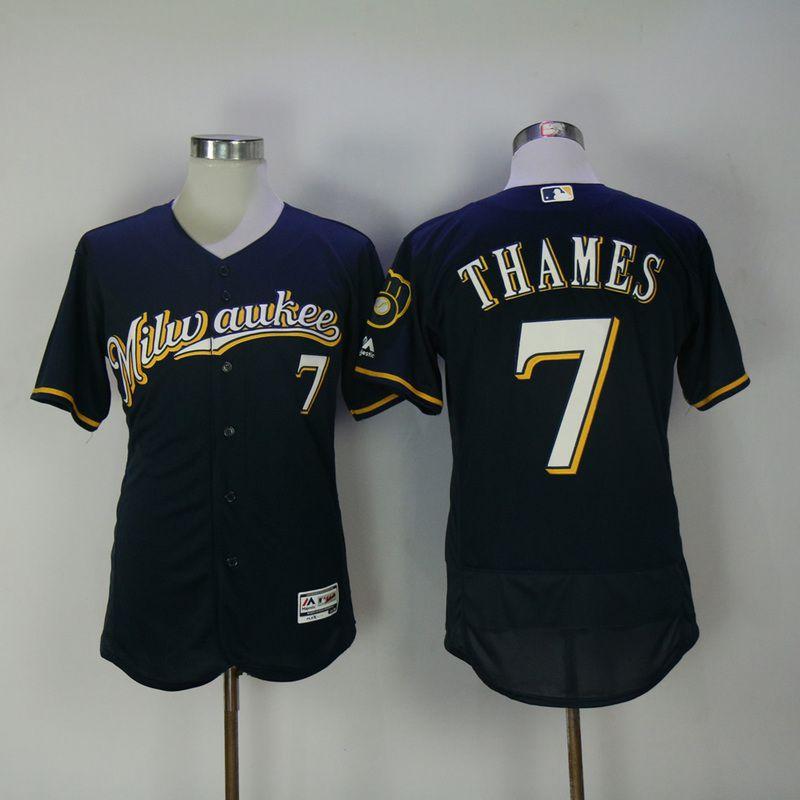 2017 Men MLB Milwaukee Brewers 7 Thames Blue Elite Jerseys 1