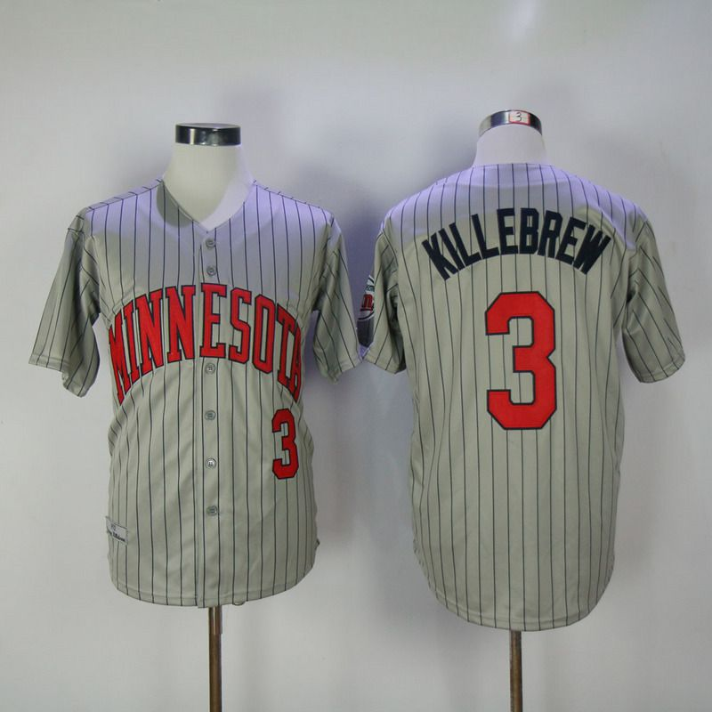 2017 Men MLB Minnesota Twins 3 Killebrew Grey Throwback Jerseys
