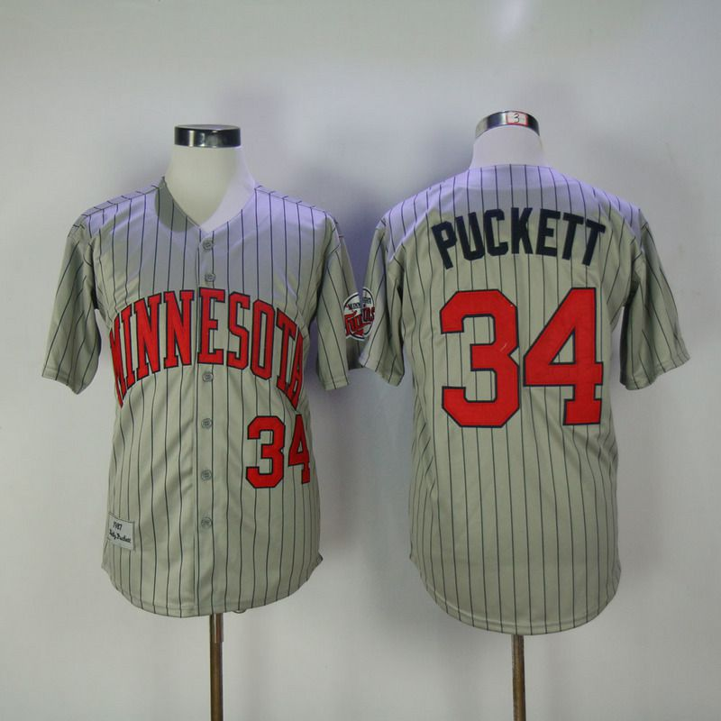 2017 Men MLB Minnesota Twins 34 Puckett Grey Throwback Jerseys