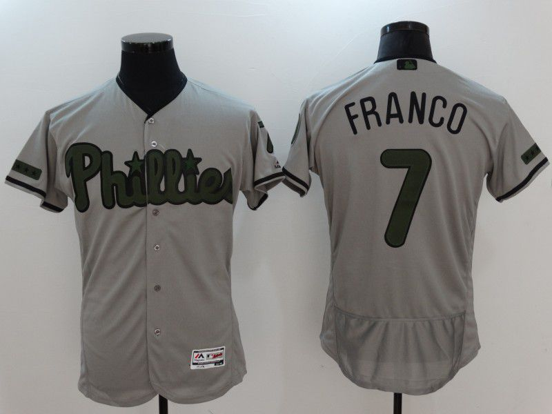 2017 Men MLB Philadelphia Phillies 7 Franco Grey Elite Commemorative Edition Jerseys