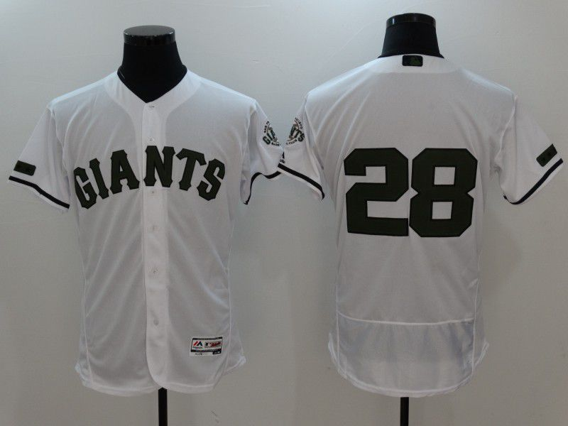 2017 Men MLB San Francisco Giants 28 Buster Posey White Elite Commemorative Edition Jerseys