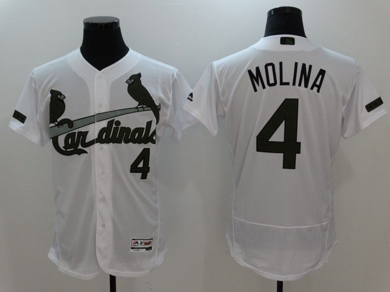 2017 Men MLB St. Louis Cardinals 4 Molina White Elite Commemorative Edition Jerseys