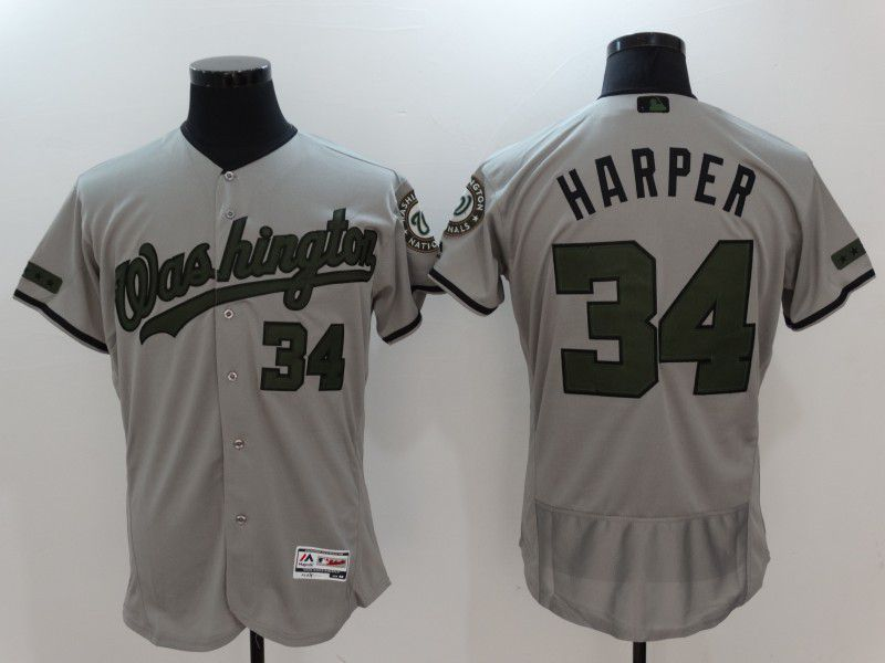 2017 Men MLB Washington Nationals 34 Harper Grey Elite Commemorative Edition Jerseys