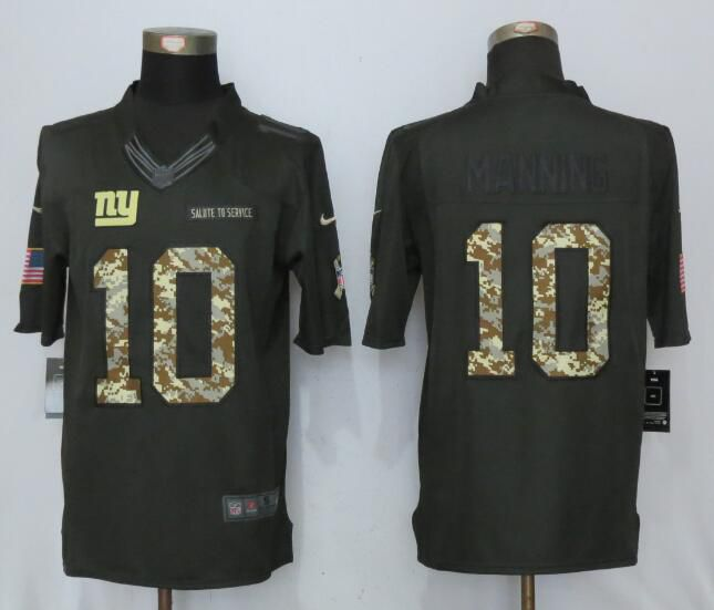 2017 Men New York Giants 10 Manning Anthracite Salute To Service Green New Nike Limited NFL Jersey