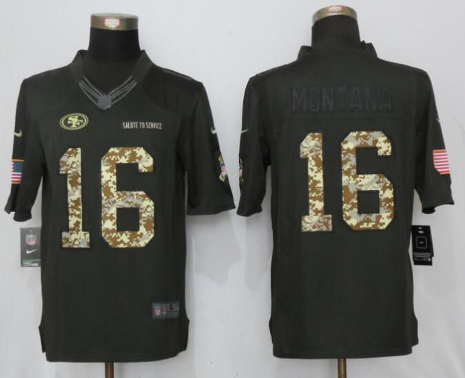 2017 Men San Francisco 49ers 16 Montana Anthracite Salute To Service Green New Nike Limited NFL Jersey