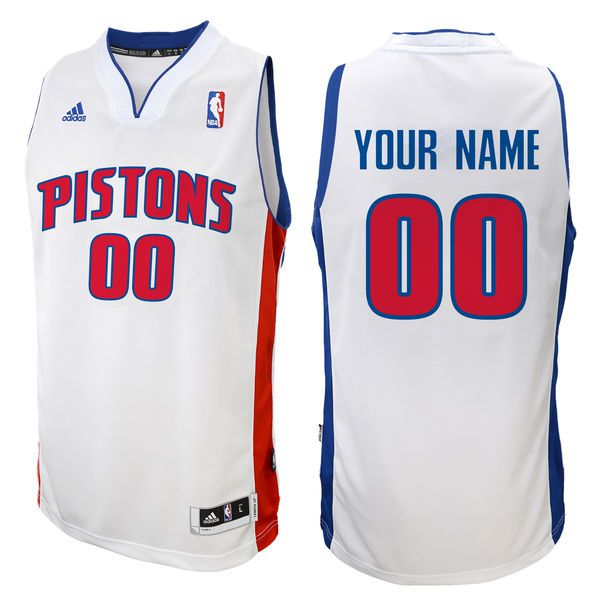 Adidas Detroit Pistons Youth Customizable Replica Home White NBA Jersey