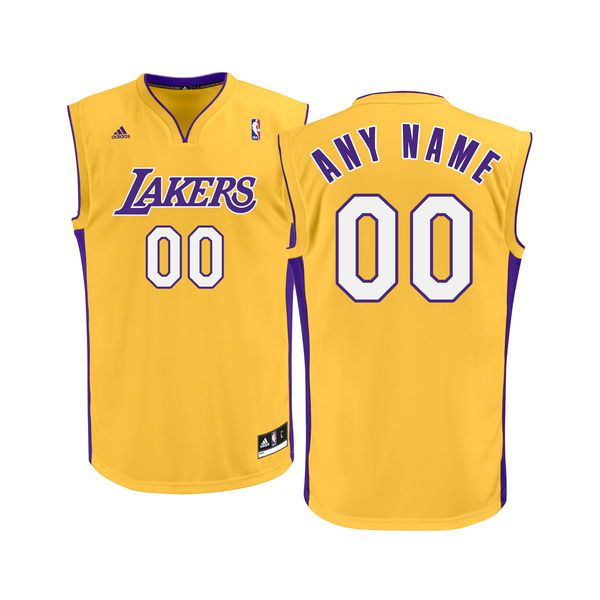 Adidas Los Angeles Lakers Youth Custom Replica Basketball Gold NBA Jersey